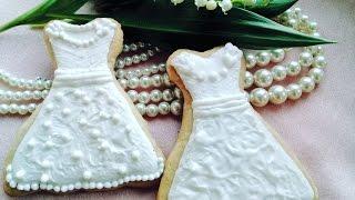 Украшение пряников в виде свадебного платья / How to decorate wedding dress cookies