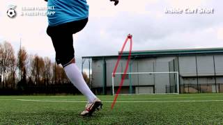 Learn Football and Freestyle App! - Inside Curl Shot (opposite post)