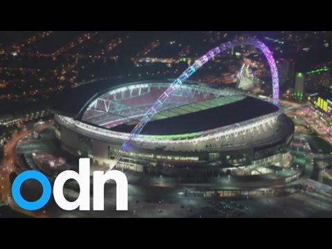 Amazing light show on Wembley Stadium's iconic arch