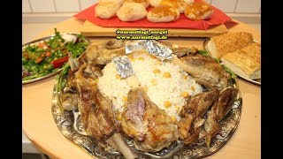 en kolayindan firinda Kuzu Incik kebabi, nohutlu pirinc pilav esliginde, firin kebab
