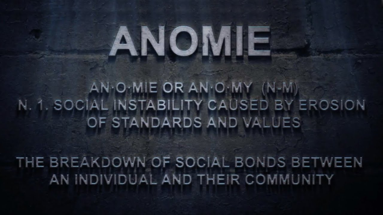anomie essay This essay critiques the reliance of police decision makers on a  in this essay  to better capture the fullness of the idea of anomie about law.