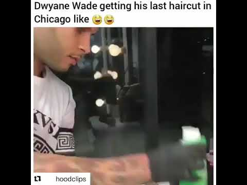 Dwyane Wade getting his last haircut in Chicago🤣🤣🤣  Dwayne cavs