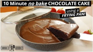 Easy 10 Minute CHOCOLATE CAKE in Frying Pan! NO Oven!