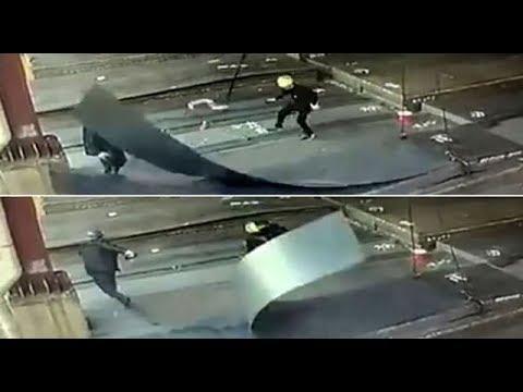 Moment Factory Worker Cheats Death as iron hook flies at him