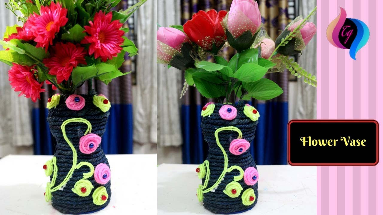 DIY - Plastic bottle flower vase - Handmade flower vase from plastic Flower Vase From Bottle on windchimes from bottles, glasses from bottles, lamps from bottles, garden art from bottles, bracelets from bottles, bird feeders from bottles,