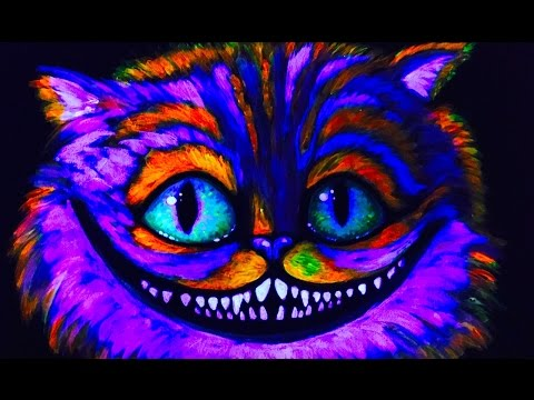 Cheshire Glow Cat Blacklight UV Learn to paint in UV Blacklight