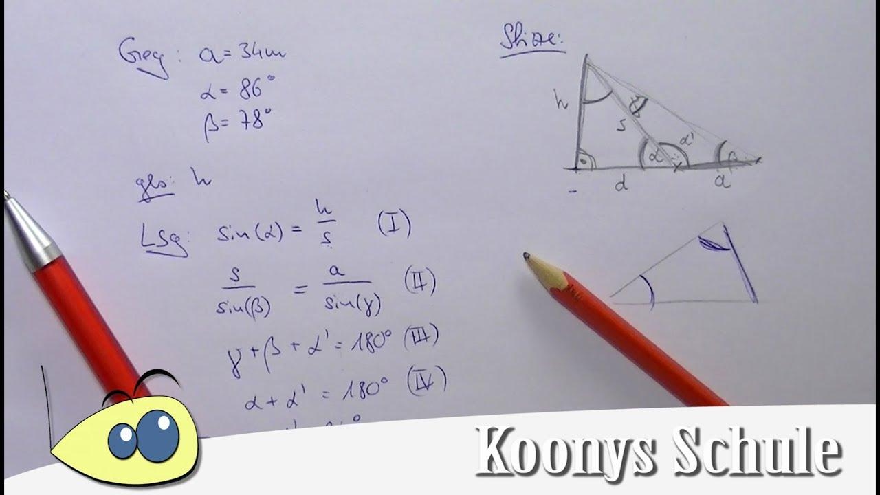 Höhe Fernsehturm mit Sinussatz bestimmen, Trigonometrie - YouTube
