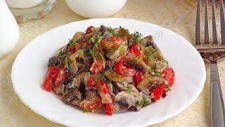 Салат с шампиньонами и болгарским перцем