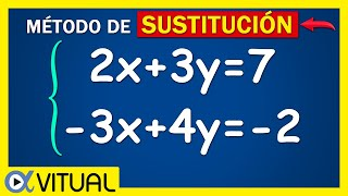 Sistema de ecuaciones de 2x2 método de sustitución ejemplo 5