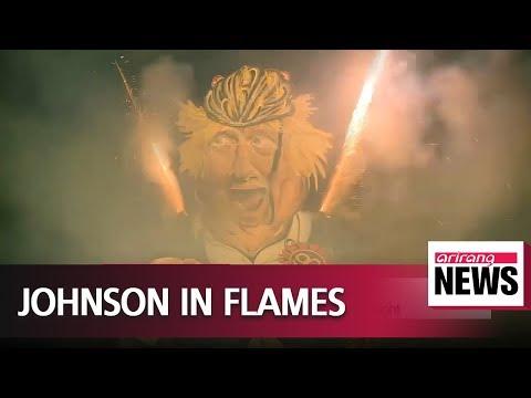 Giant Boris Johnson effigy burns for UK bonfire night