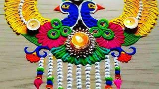 peacock rangoli for Diwali/Deepawali/gudipadava FESTIVAL