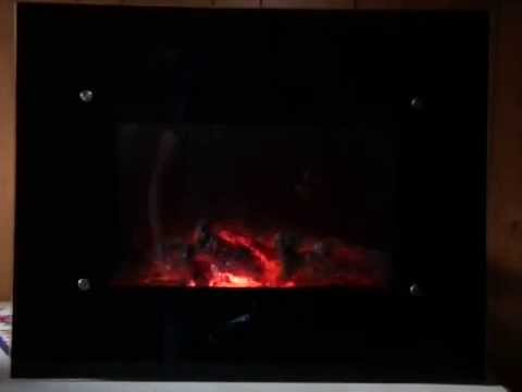 1800W Black Glass Flat Screen Wall Mounted Fireplace Heater with Remote Control