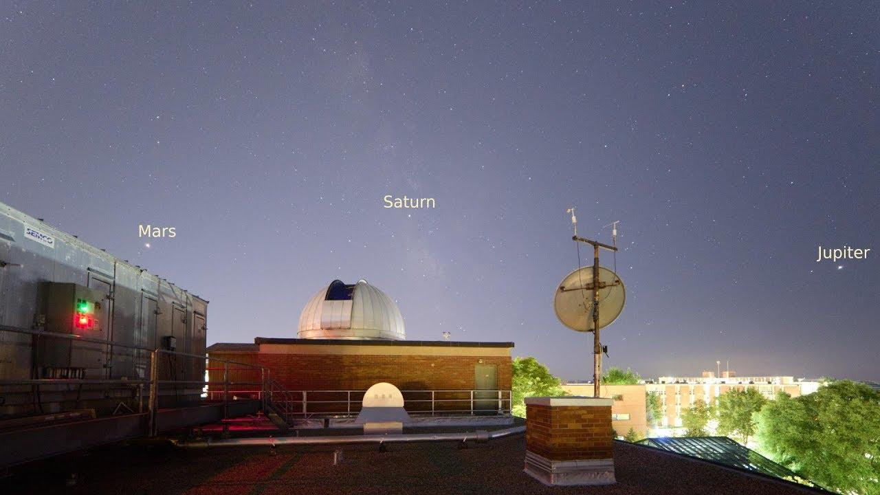Mars, Saturn and Jupiter over Brooks Observatory (Central Michigan  University)