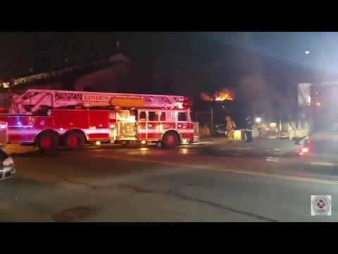 Linden, Nj Fire Department 3rd Alarm Building Fire (W Elizabeth Ave) 2-16-17