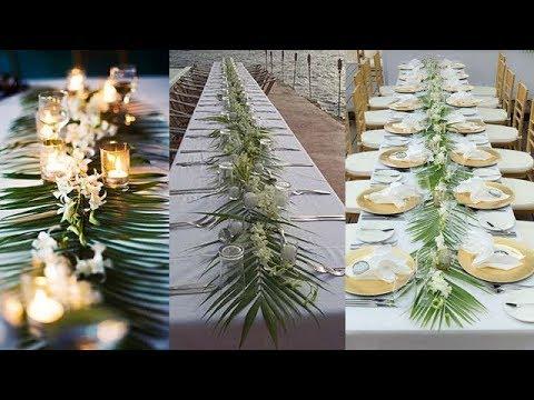 DIY Palm leaves ( palm leaf ) table runner / floral wedding table runner / wedding centerpiece