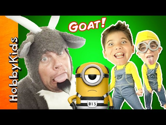 Evil GOAT Battles Minions KIDS! Toy Adventure of Despicable ME 3 Movie Toys Part 1 HobbyKidsTV