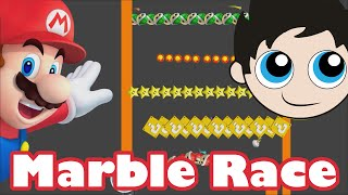 Marble Race 7 Made in Algodoo - Super Mario Brothers Theme -  KP's Marble Madness - Kinder Playtime