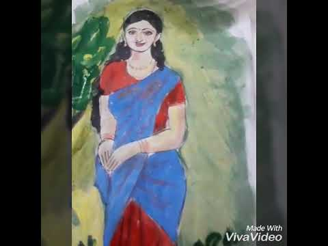 drawing a village girl