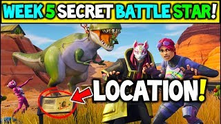 "Fortnite WEEK 5 SECRET Battlestar Location Season 5 (""Road Trip"" Challenges) - Secret Battle Star!"