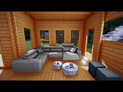 Деревянный дом из мини бруса (65мм) 50m2