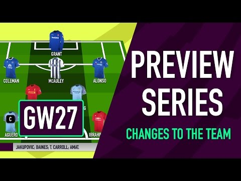 Gameweek 27 Preview   CHANGES TO THE TEAM   Fantasy Premier League 2016/17