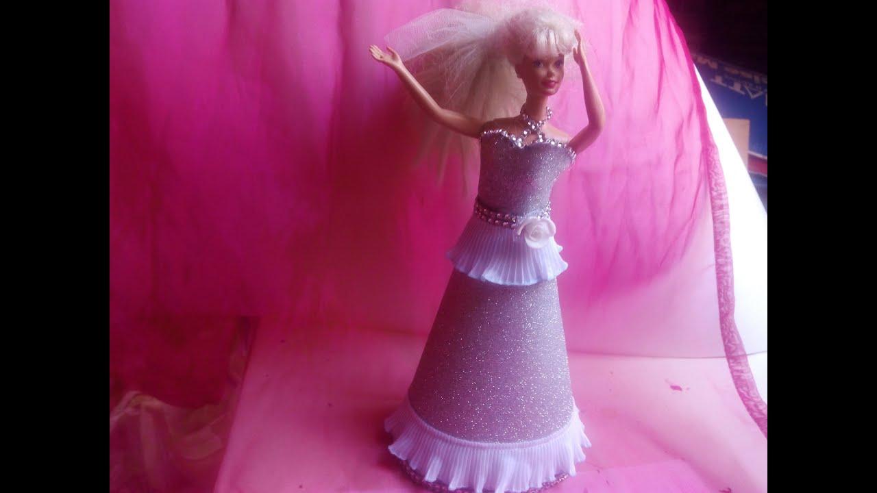 diy Vestido de fiesta para muñecas de goma eva 2ª - YouTube