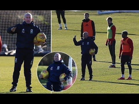 Tony Pulis takes Middlesbrough training for the first time