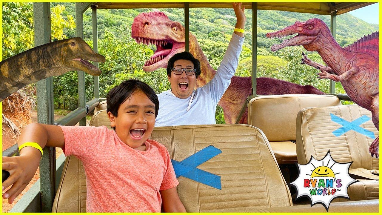 Ryan visits Jurassic World Dinosaurs in the Jungle!