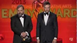 Dan Harmon and Joel McHale at the Creative Arts Emmys 2013