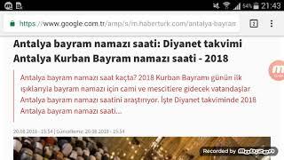 Antalya Bayram Namazı Saat Kaçta? 21 Ağustos 2018