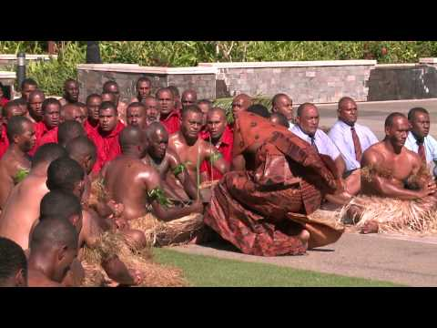 Fijian traditional ceremony of welcome accorded to Bolivian President.
