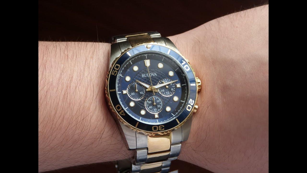 184d980fa0c Relógio Masculino Esportivo Bulova WB31989A Prata e Dourado - YouTube
