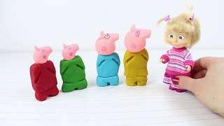 Maşha Oyun Hamurundan Peppa Ailesi'ni Yaptı | Peppa Pig Aile İle Tanışın Renkleri Öğrenin