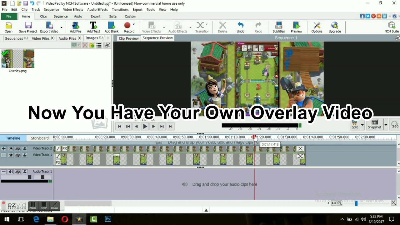 How to overlay videos in videopad