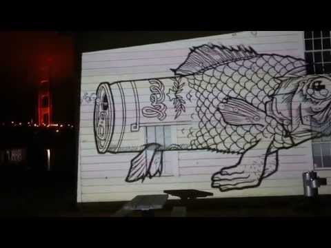 Jeremy Fish's Drawings Animated and Projected San Fransico