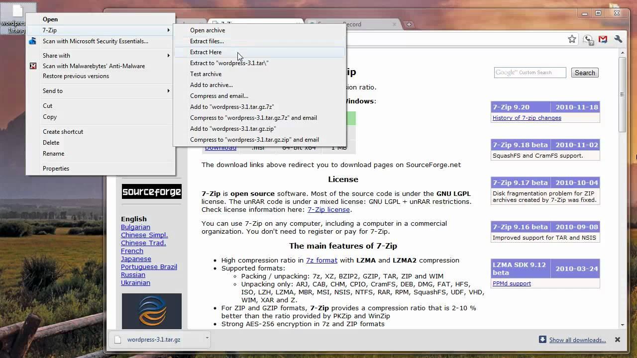 Extract tar gz on Vista & Win7 (HD)