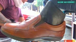 ASMR shoe shine honey color sh…