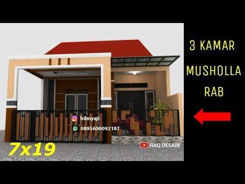 model-rumah-minimalis-2020-modern-ukuran-7x19-1-lantai-3-kamar-dan-musholla