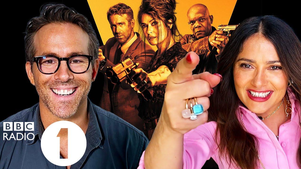 """Yiiiip!"" Ryan Reynolds and Salma Hayek on slapping and swearing on The Hitman's Wife's Bodyguard."