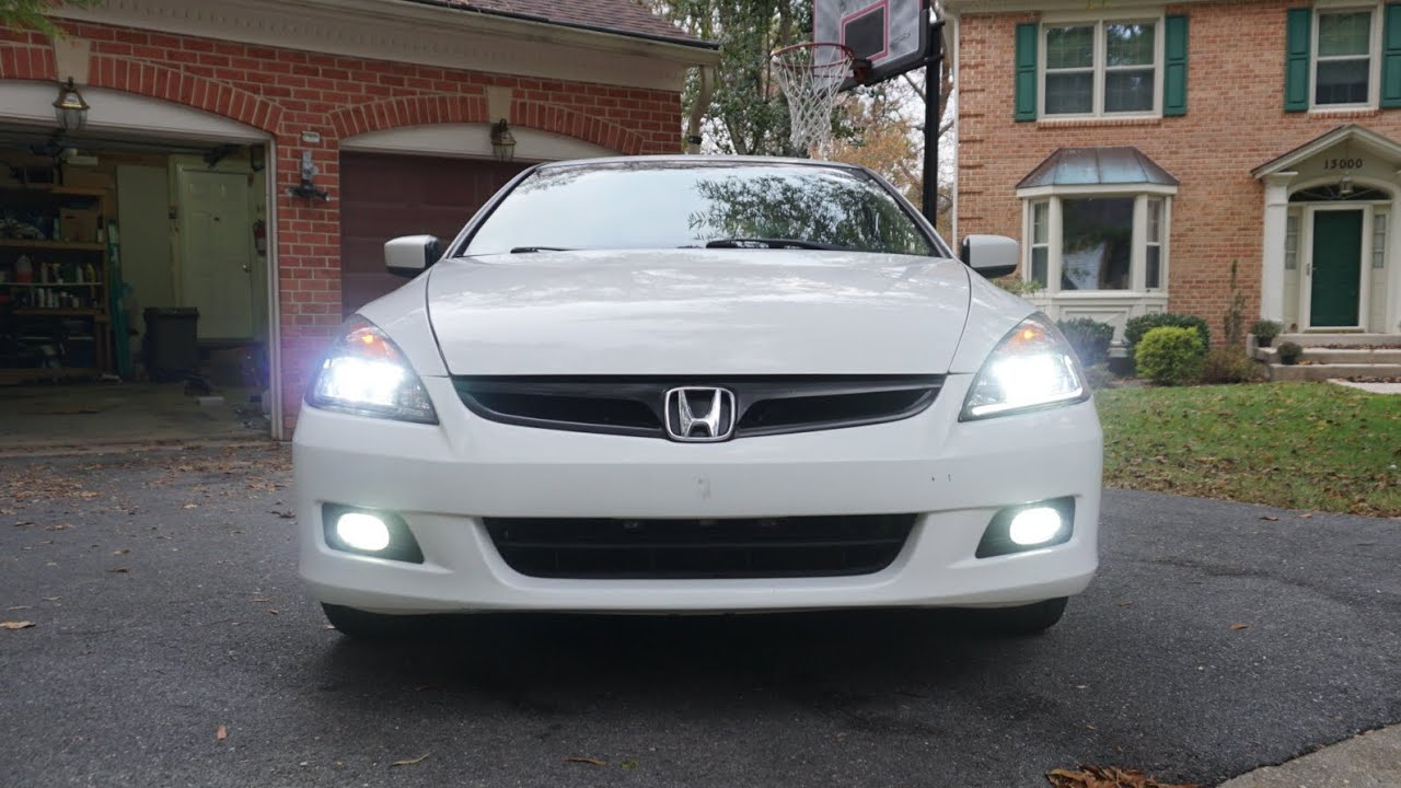 2006 07 honda accord led fog light install [ 1280 x 720 Pixel ]