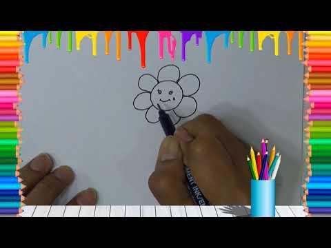 Belajar cara menggambar bunga matahari dengan mudah