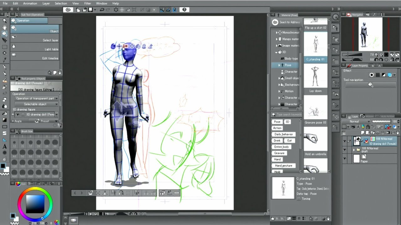 CLIP STUDIO PAINT useful features : 3D drawing figures