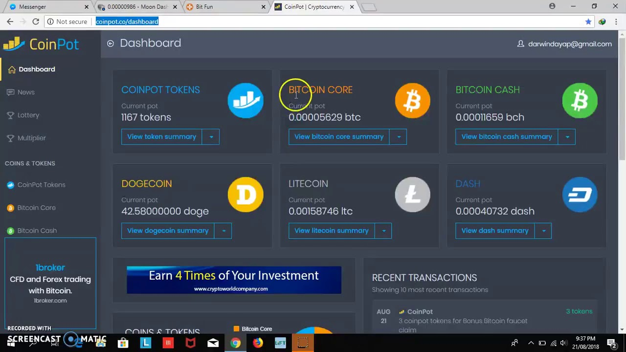 Auto Claim Coinpot co Micro-Wallet 100$ per Day 2019