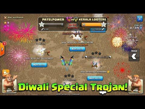 Diwali Special Trojan War In Clash Of Clans |60 Attacks In  Last 10 Min