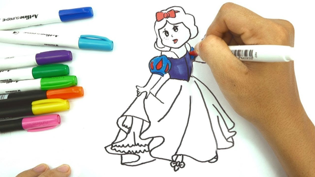 Draw Color Paint Cute Snow White Coloring Pages Leam