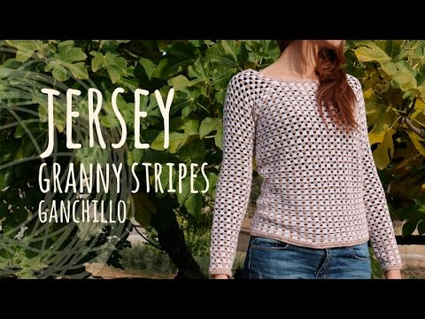 Tutorial Jersey Fácil y Rápido - Granny Stripes Ganchillo | Crochet ...