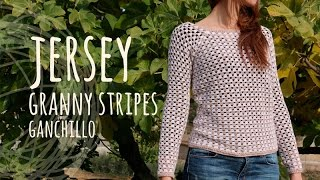 Tutorial Jersey Fácil y Rápido - Granny Stripes Ganchillo | Crochet