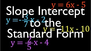 Convert from the Slope Intercept Form to the Standard Form