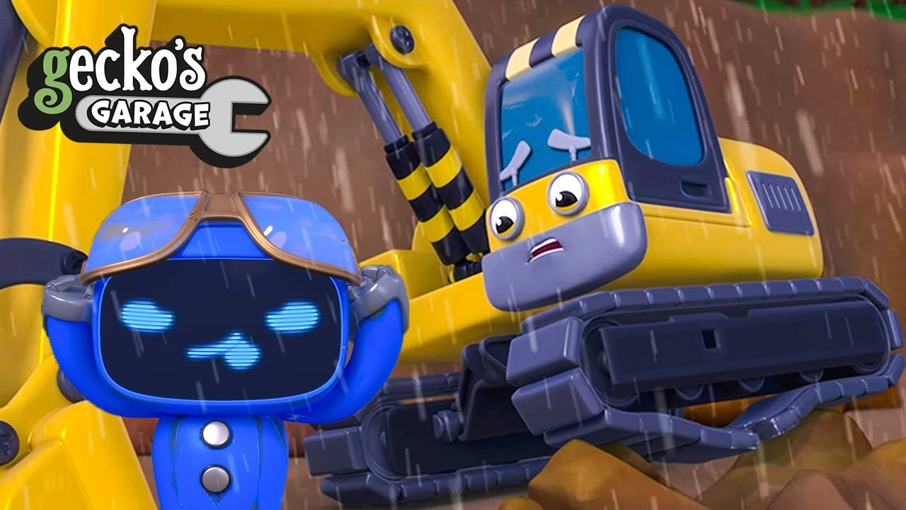 Brave Blue Mech Saves The Excavator|Gecko's Garage|Cartoon For Kids|Learning Videos For Toddlers