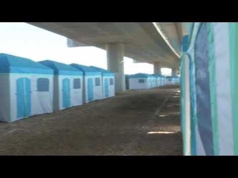 New tents setup for homeless under Modesto's 9th Street bridge